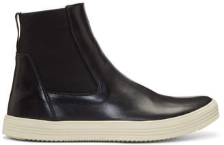 Rick Owens Black and Off-White Leather Mastodon Boots