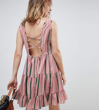 Glamorous Petite Smock Dress With Tie Back In Stripe