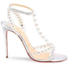 Christian Louboutin Faridaravie 100 Leather & PVC Slingback Sandals