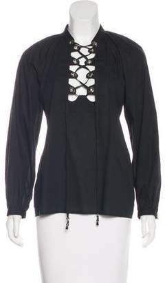 Gucci Long Sleeve Lace-Up Top