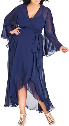 City Chic Fleetwood Wrap Maxi Dress