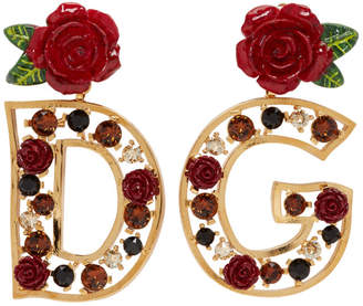 Dolce & Gabbana Gold Rose Earrings