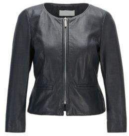 BOSS Hugo Perforated Lambskin Leather Jacket Sallotina 2 Open Blue