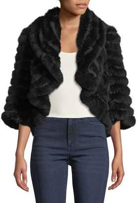 Neiman Marcus Luxury Striped Cashmere & Fur Shrug