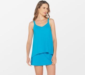 Denim & Co. Beach Hi-Low Tankini Swimsuit with Skirt