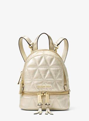 Michael Kors Rhea Mini Metallic Quilted Leather Backpack