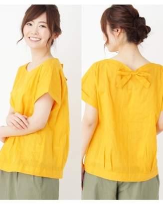 PINK adobe (ピンク アドベ) - ピンクアドベ [裾タックデザイン]カラミバックリボンシャツ