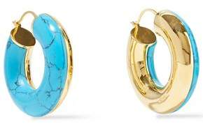 Noir 14-karat Gold-plated Stone Hoop Earrings