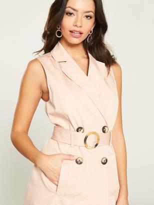b0ee26e01de7 River Island Sleeveless Belted Blazer Dress- Pink