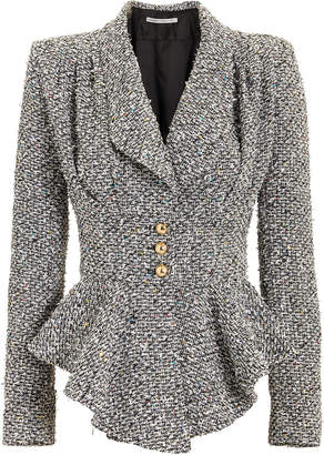 Alessandra Rich Sequinned Tweed Peplum Jacket