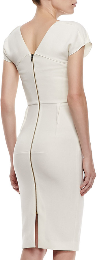Roland Mouret Afyon Stretch Double-Crepe Dress, Off-White