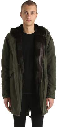 Mr & Mrs Italy Canvas Long Parka W/ Fur Lining