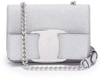 Salvatore Ferragamo Vara Mini Glitter Covered Leather Cross Body Bag - Womens - Silver