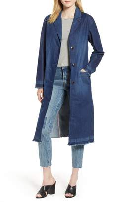 Levi's Denim Washed Long Peacoat