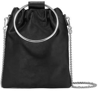 Post Small Leather-trimmed Satin Shoulder Bag - Black