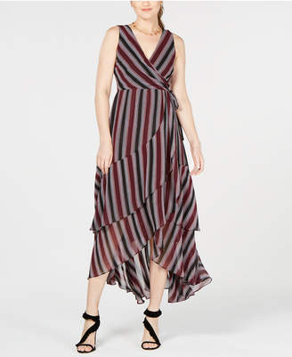 INC International Concepts I.N.C. Striped Layered Faux-Wrap Dress, Created for Macy's