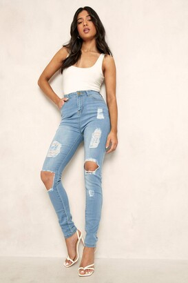 boohoo Petite One Button Distressed High Rise Skinny Jean