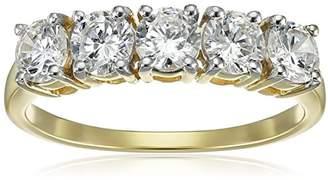 Swarovski 10K Gold 5 Stone Ring Made with Zirconia