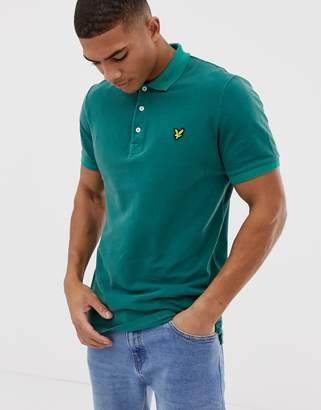 Lyle & Scott pique snow wash polo in green
