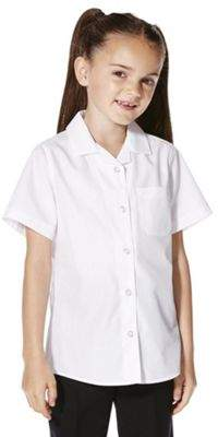 F&F School School 2 Pack Of Girls Easy Care Short Sleeve Shirts 5-6 yrs