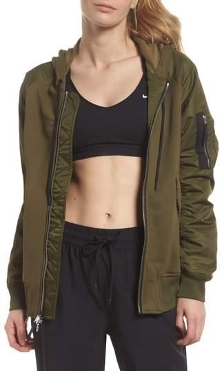 Women's Mixed Media Bomber Jacket