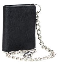 Montauk Leather Club Men's RFID Signal Blocking Tri-Fold Motorcycle Wallet in Black Genuine Leather with Bright Nickel Color Chain