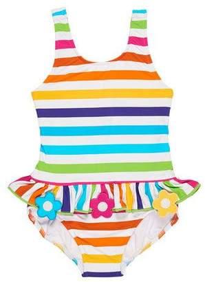 Florence Eiseman Stripe Ruffle One-Piece Swimsuit w/ Flower Trim, Size 2-6X