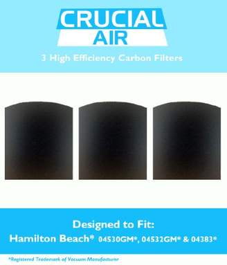 Hamilton Beach 3 Crucial Air Replacement Carbon Filters for True Air Odors 04530GM 04532GM 04383 04531GM 04530F 04532GM 04251 04271 04530 04530F Part 04294