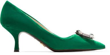 Prada - Crystal-embellished Velvet Pumps - Emerald