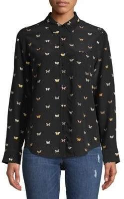 Rails Butterfly-Print Silk Button-Down Shirt