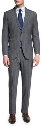 Ermenegildo Zegna Pindot-Stripe Two-Piece Wool Suit, Gray $3,095 thestylecure.com