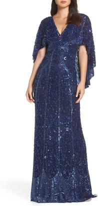 Mac Duggal Sequin Cape Sleeve Evening Dress