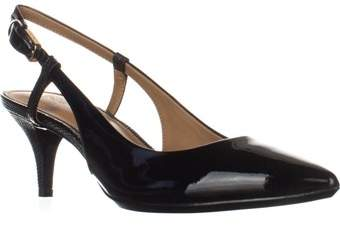Calvin Klein Patsi Slingback Pointed Toe Pumps, Black Patent.