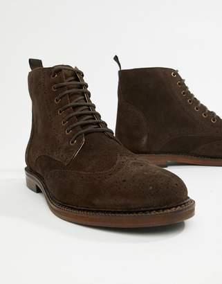 Walk London WALK London Darcy brogue boots in brown suede