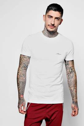 boohoo Man Script Embroidered Muscle Fit T-Shirt