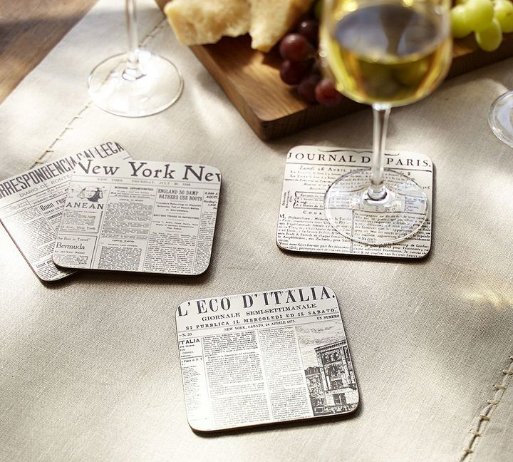 Pottery Barn Newspaper Cork Coasters, Set of 4