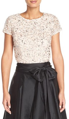 Women's Adrianna Papell Sequin Mesh Top $145 thestylecure.com