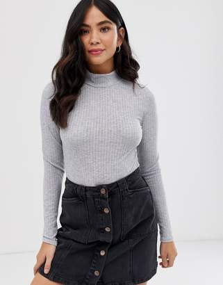 New Look turtle neck long sleeved body in grey