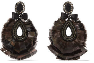 Feather And Crystal Clip Earrings - Black