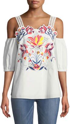 Tanya Taylor Marja Floral-Embroidered Cutwork Cold-Shoulder Top