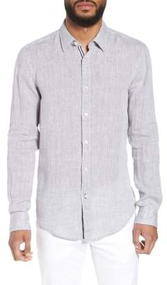 BOSS Ronni Slim Fit Dobby Linen Sport Shirt