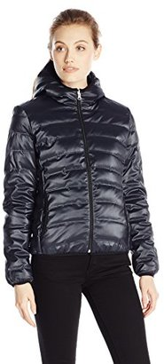 Calvin Klein Jeans Women's Hooded Metallic Puffer $118.40 thestylecure.com