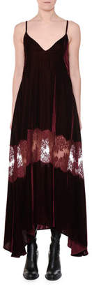Stella McCartney V-Neck Cami-Strap Velvet Evening Dress w/ Lace Inset