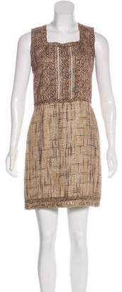 Andrew Gn Linen-Blend Mini Dress