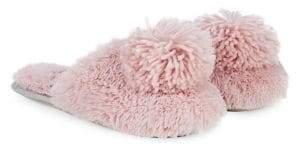 Kensie Faux Fur Pom-Pom Slippers