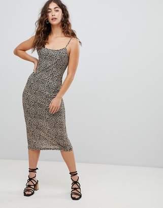 Glamorous midi cami dress in leopard