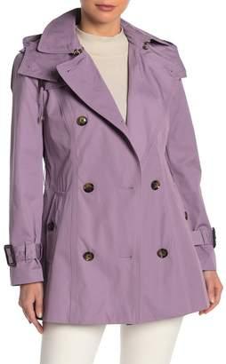 London Fog Missy Waist Belt Hooded Trench Coat