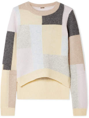 ADAM by Adam Lippes Color-block Brushed Cashmere And Silk-blend Sweater - Beige