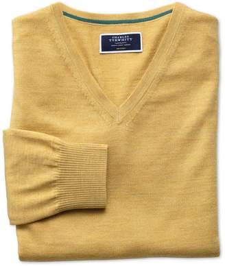 Charles Tyrwhitt Yellow Merino Wool V-Neck Sweater Size XXL