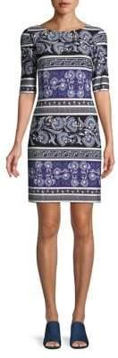 Eliza J Floral Scroll Sheath Dress
